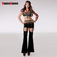 בגדים צוענים תלבושות ריקודי בטן שבטית feminina roupas שחור אקדמיה איטום חזייה + המותניים + dress egyption תחפושת ריקודי בטן