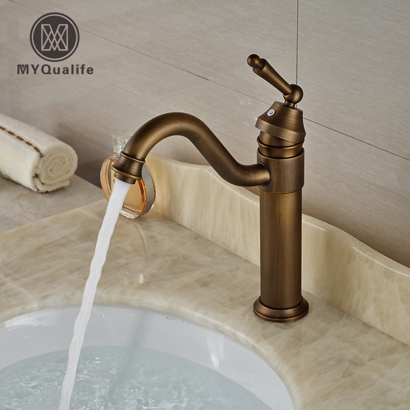 цена на Bthroom Single Handle Hot Cold Basin Sink Faucet Deck Mount Vanity Sink Mixer Taps Antique Brass