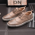 Men Leather Shoes Men Round Toe  Lace Up Fashion Flats Shoes Men Casual Shoes Brown Blue Size 39-44