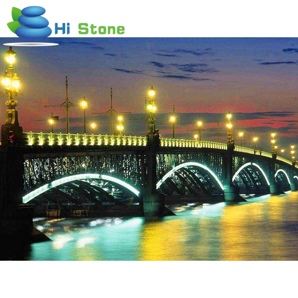 Diamond embroidery,City, Scenery,Bridges,Light,Diamond Painting,Cross Stitch,Round,Drill Mosaic Picture,Crystal Drawing
