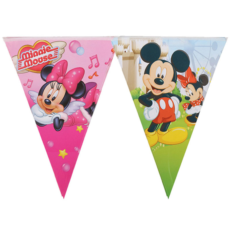 10 Flags/Pack Kids Boy Baby Birthday Party Decoration Kids Supplies Favors Mickey Mouse Theme Paper Pennant Banner