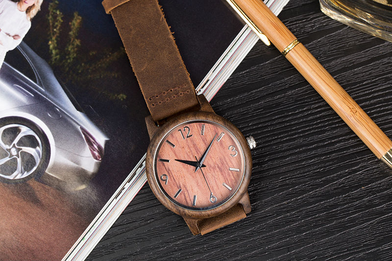 SIHAIXIN Man Watches Classic Luxury Leather Straps Quartz Male Clock Engraved With Personal Text Wood Wristwatch Gift For Him 15