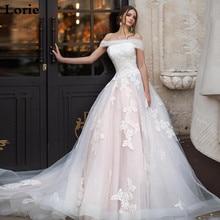 LORIE สีชมพูชุดเจ้าหญิงปิดไหล่ Appliqued Lace ชุดเจ้าสาว A   Line ลูกไม้ Tulle Lace Up กลับ Boho งานแต่งงานชุด