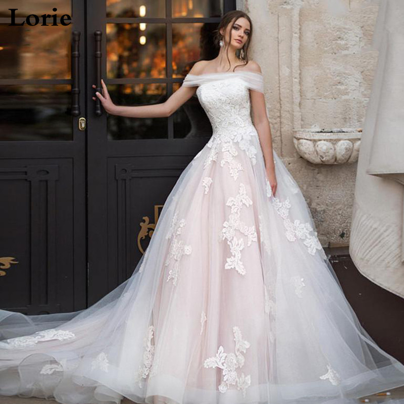 LORIE Light Pink Princess Wedding Dress Off The Shoulder Appliqued Lace Bride Dress A Line Tulle Lace Up Back Boho Wedding Gown-in Wedding Dresses from Weddings & Events