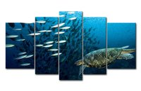 5 Panels HD Canvas Painting Unframe Sea Turtle Canvas Prints Landscape Pictures Paintings Living Bedroom Home