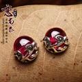 Famosa marca presente namorada 925 esterlina brincos de prata naturais pedras semi-preciosas corindo vermelho mulheres jóias retro