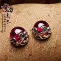 Marca de fábrica famosa novia regalo 925 pendientes de plata esterlina piedras semipreciosas naturales rojo corindón mujeres joyas retro