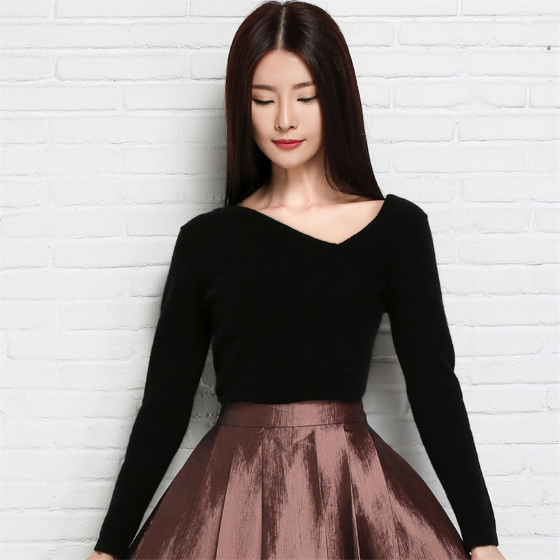 ALKMENE Soft wool knitted women sweater pullover v neck long sleeve fashion  women sweater trend pullover warm winter sweater-in Pullovers from Women s  ... e33dc352b