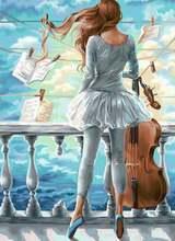 5d diy алмазная живопись Алмазная мозаика для девочек Виолончель