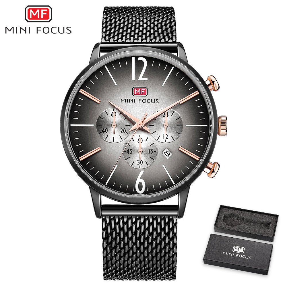 MINI FOCUS Fashion Sport Watch Quartz Clock Ultra Thin Mesh Strap 3D Index Design Calendar Boyfriend Waterproof Wristwatch + BOX