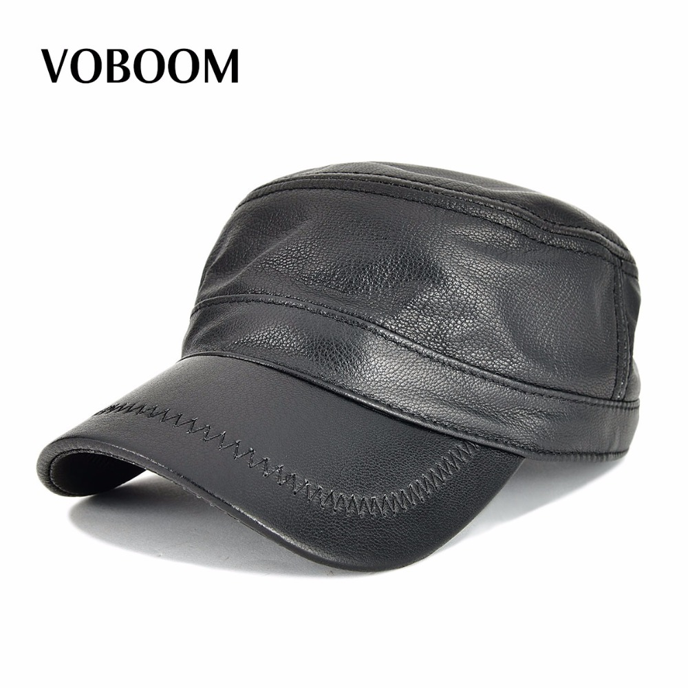 VOBOOM Genuine Leather Spring Autumn Men Women Flat Top Cap Adjustable Baseball Cap Black Hat 120 red star pattern flat top cotton fabric cap hat black