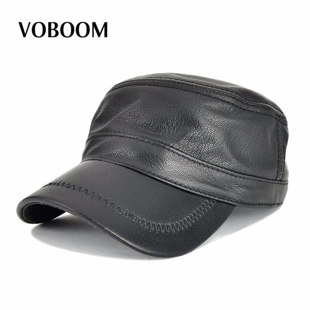 VOBOOM Genuine Leather Spring Autumn Men Women Flat Top Cap Adjustable  Baseball Cap Black Hat 120 e4e3189afbf