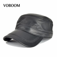 VOBOOM Brand New Genuine Leather Spring Autumn Men Women Flat Top Cap Adjustable Baseball Cap Black