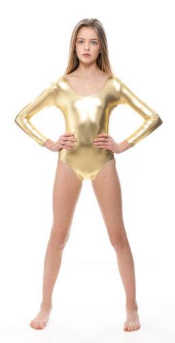 90f069836640 Mandy Lycra Spandex Child Gymnastics Leotards Girls Shiny Long ...