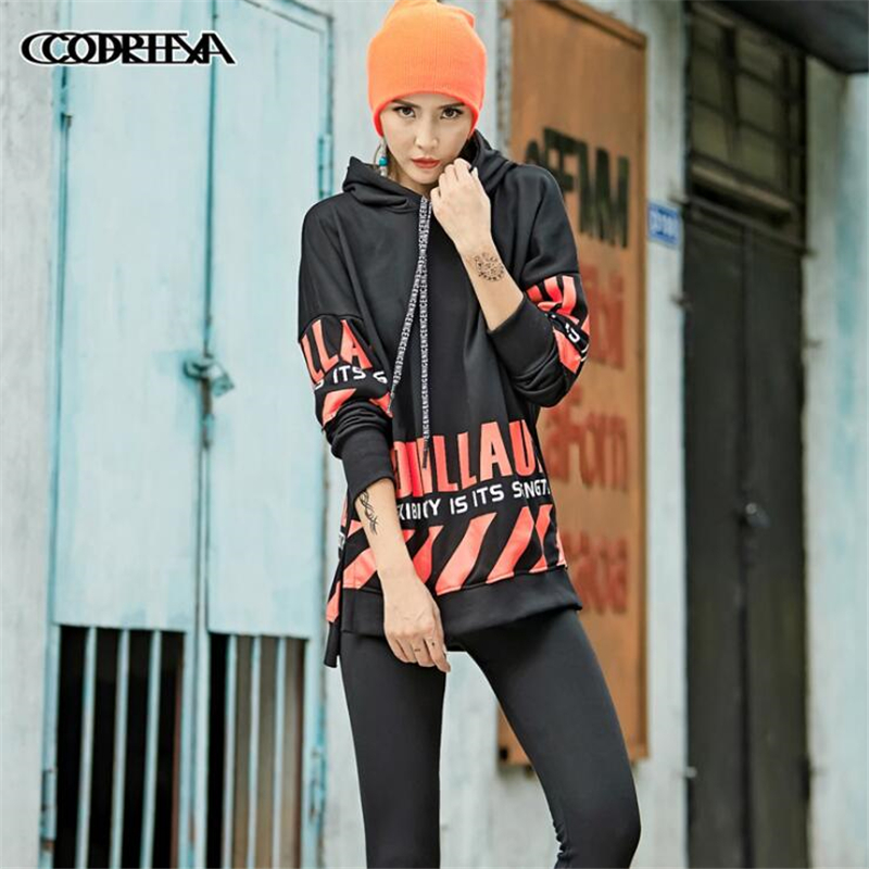 Autumn Hoodies Women 2018 Winter European Trend Street Women Hooded Pullover Letter Print Splice Cotton Loose sweatshirt women