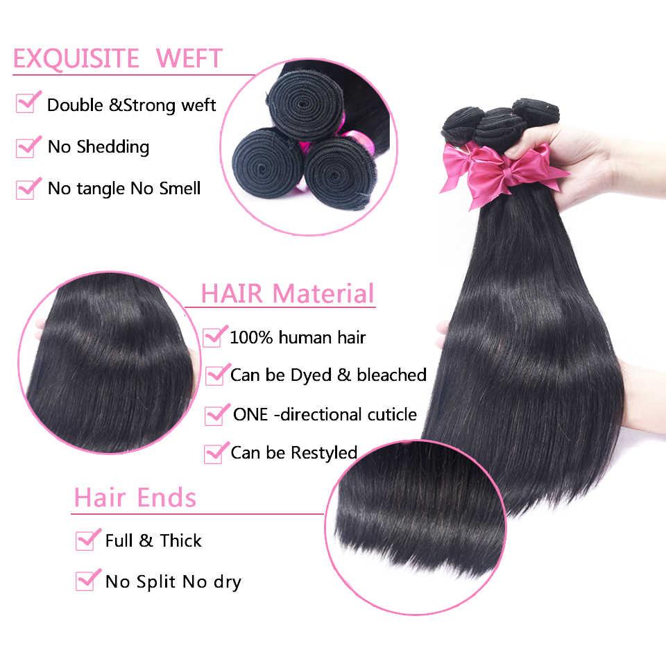 USEXY наращивание волос 100% человеческие волосы пучки с бразильские волосы с закрытием пучки плетения прямые 3 пучка с закрытием шнурка