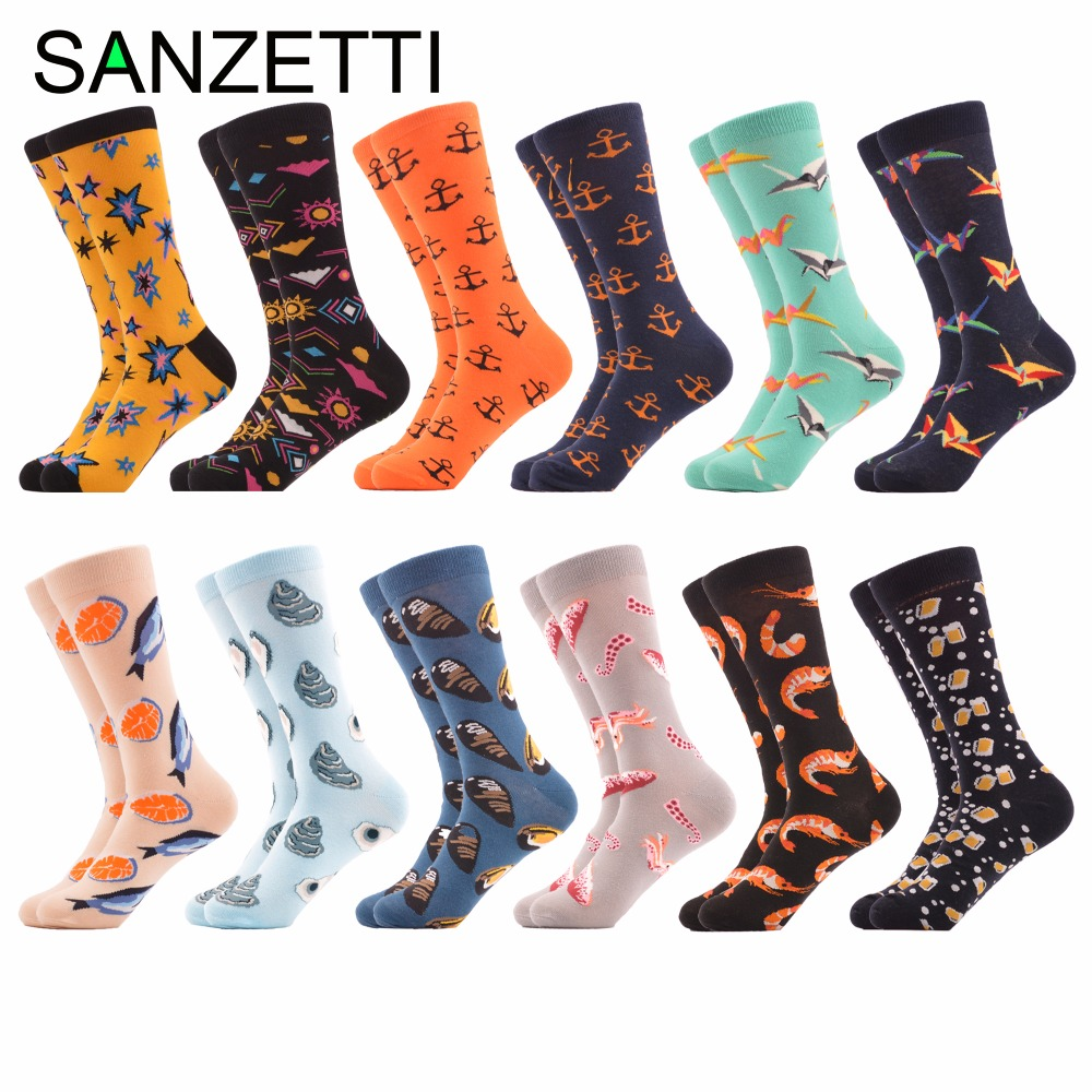 SANZETTI 12 pairs/lot Colorful Mens Funny Combed Cotton Socks Shrimp Oysters Fish Sea Food Pattern Novelty Casual Wedding Socks