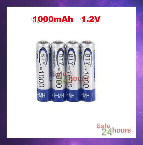 20pcs/lot 4PCS/set AAA BTY Rechargeable Battery Pack 1000mAh Ni-MH 1.2V Free shipping