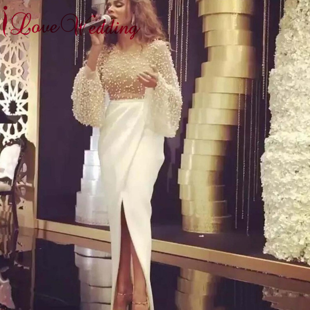 Hot New 2019 Jewel Collar Pearl Lace Beaded Custom made Trumpet Long Front Split Sexy Long Prom Dresses