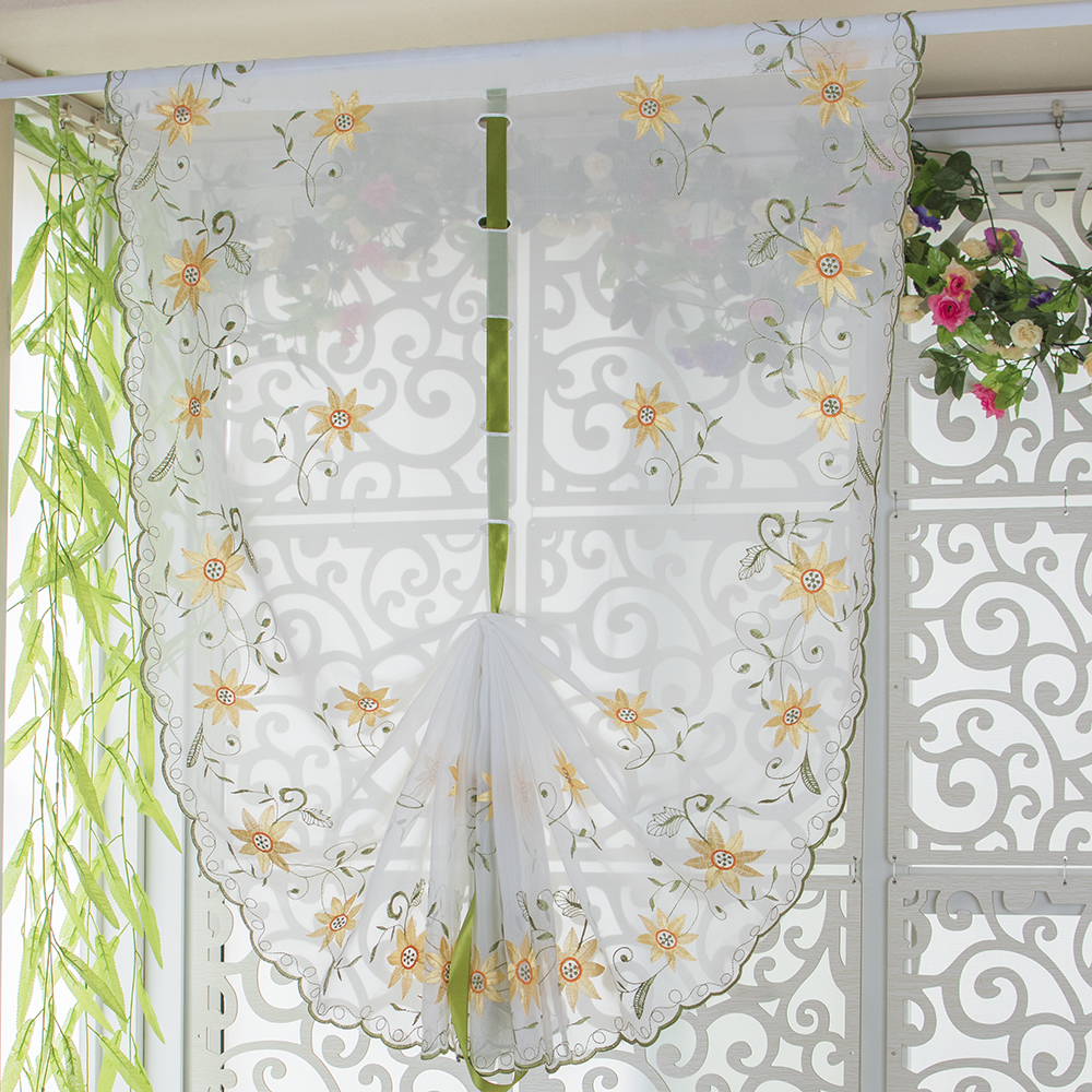 Sheer balloon curtains - Sheer White Voile Pink Flowers Embroidery Patterns Tulle Window Curtain For Bedroom Living Room Decorative