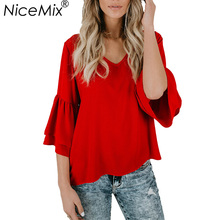 NiceMix  Blouse Women Chiffon Blusas Casual Summer Loose Sexy V-neck Tops Vetement Femme Mujer De Moda 2019