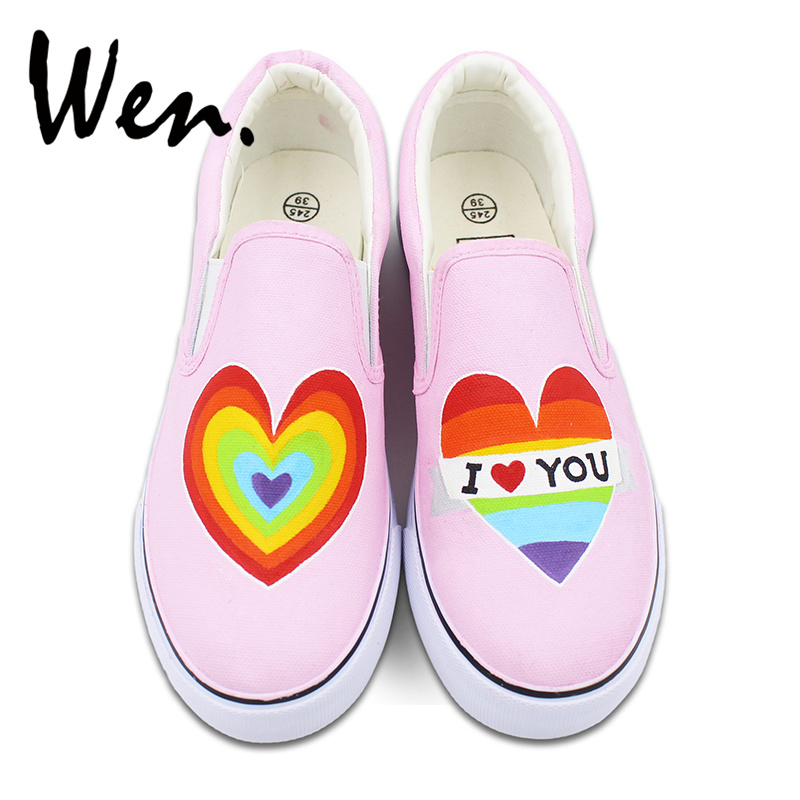Wen Original Design Rainbow Color Heart Hand Painted Shoes Womens Slip On Shoes Pink Canvas Sneakers