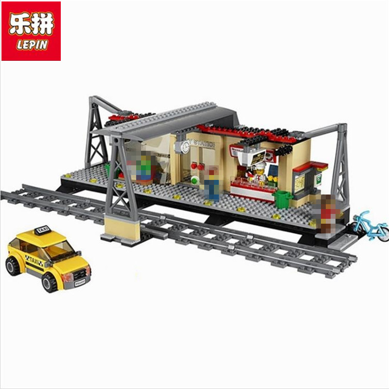Lepin 02015 City Trains Train Station with Rail track Taxi 456Pcs Building Block Set Boys Model Brick Toy Compatible 60050 trains reader mfr1
