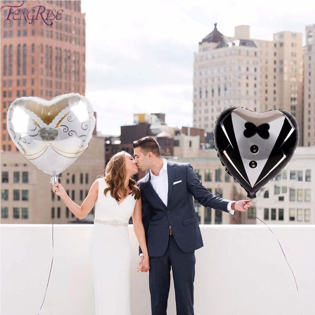 FENGRISE Wedding Decoration Foil Balloons Just Married Romantic Wedding Dress Balloon Bridal To Be Engagement Baloon