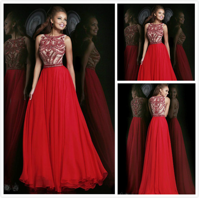 New Model Sexy Chiffon Big Bust A Line Floor Length Long Red Heavy