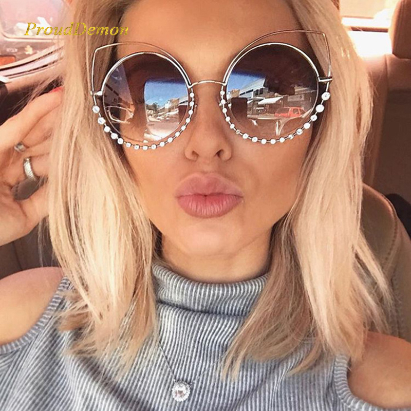 2019 Mode Sexy Luxury Cat Eye Sunglasses Wanita Coating Cermin Reflektif Berlian Dekorasi Kacamata matahari Perempuan Shades UV400