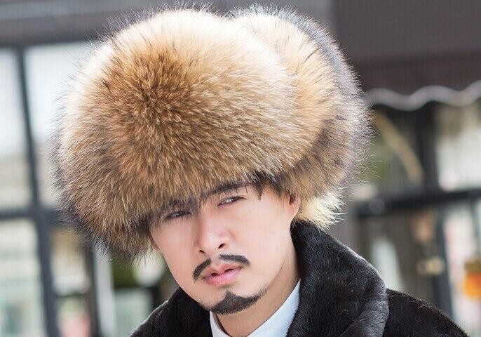 417e1b4ab05 Top quality large raccoon fur hat big ear fur hat men s leather snow cap  fashion Bomber Hats