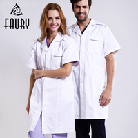 White Men Women Short Sleeve Hospital Medical Lab Coats Chemistry Pharmacy Nurse Doctor Surgical Uniform Beauty Salon Work Wear