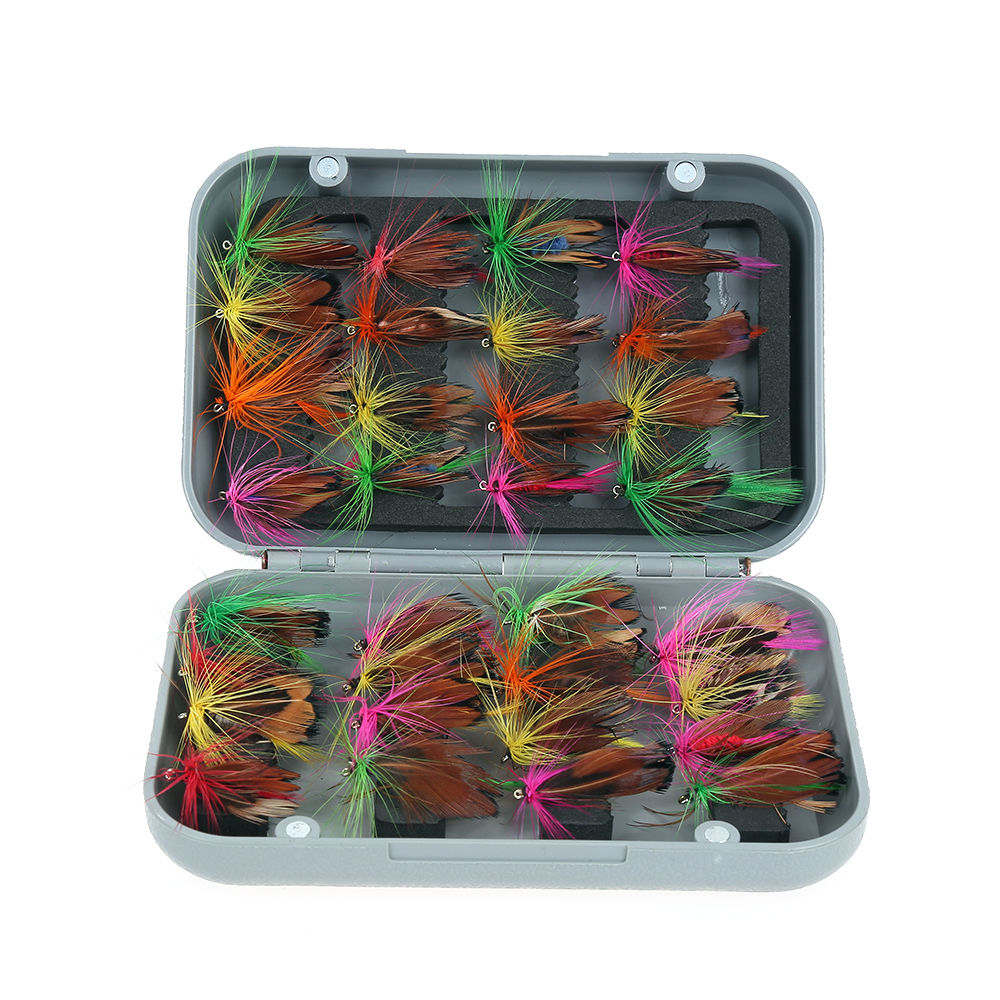 32pcs/sets Fly Fishing Lure Set Artificial Insect Bee Bait Trout Fly Lake River Fishing Hooks With Feather Tackle with Case Box kkwezva 32pcs boxed fly fishing lure set artificial bait trout fly fishing lures hooks tackle with box butterfly insect