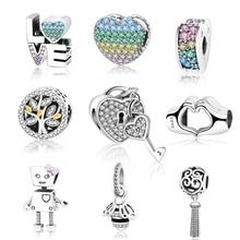 Подходит браслет Pandora Подвески серебряные бусины 925 пробы амулет, сердечко любви робот пчела семья дерево DIYJewelry подарок Berloque