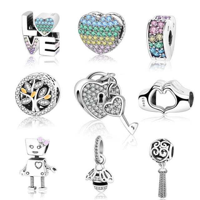 Fit Original Pandora Charms Bracelet 925 Sterling Silver Beads Charm Love  Heart Robot Bee Family Tree DIYJewelry Gift Berloque 58a9f7d6a982