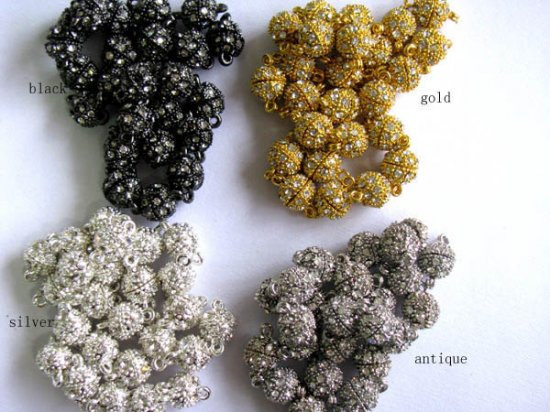 wholesale tone Rhinetone crystal Magic Clasp Connectors Magnetic Clasps round ball gunme ...