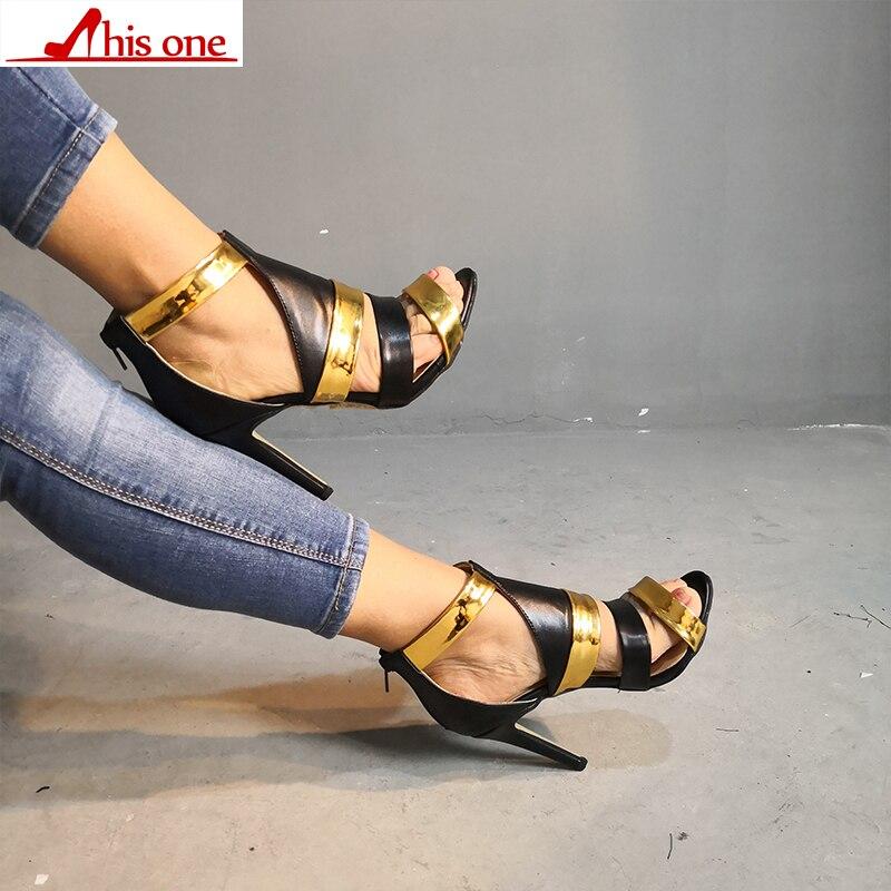 398323ab 2019 Altos Tela Nueva Pu Sandalias Color Moda toe Marca Peep De Cinturón  Mujer Roma Colisión Patchwork Zapatos Gladiador Tacones SUMVzp
