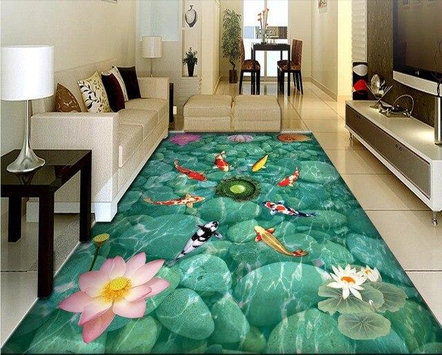 Custom 3d flooring wallpaper pink lotus vinyl flooring adhesive custom 3d flooring wallpaper pink lotus vinyl flooring adhesive waterproof wear non slip 3d floor tyukafo