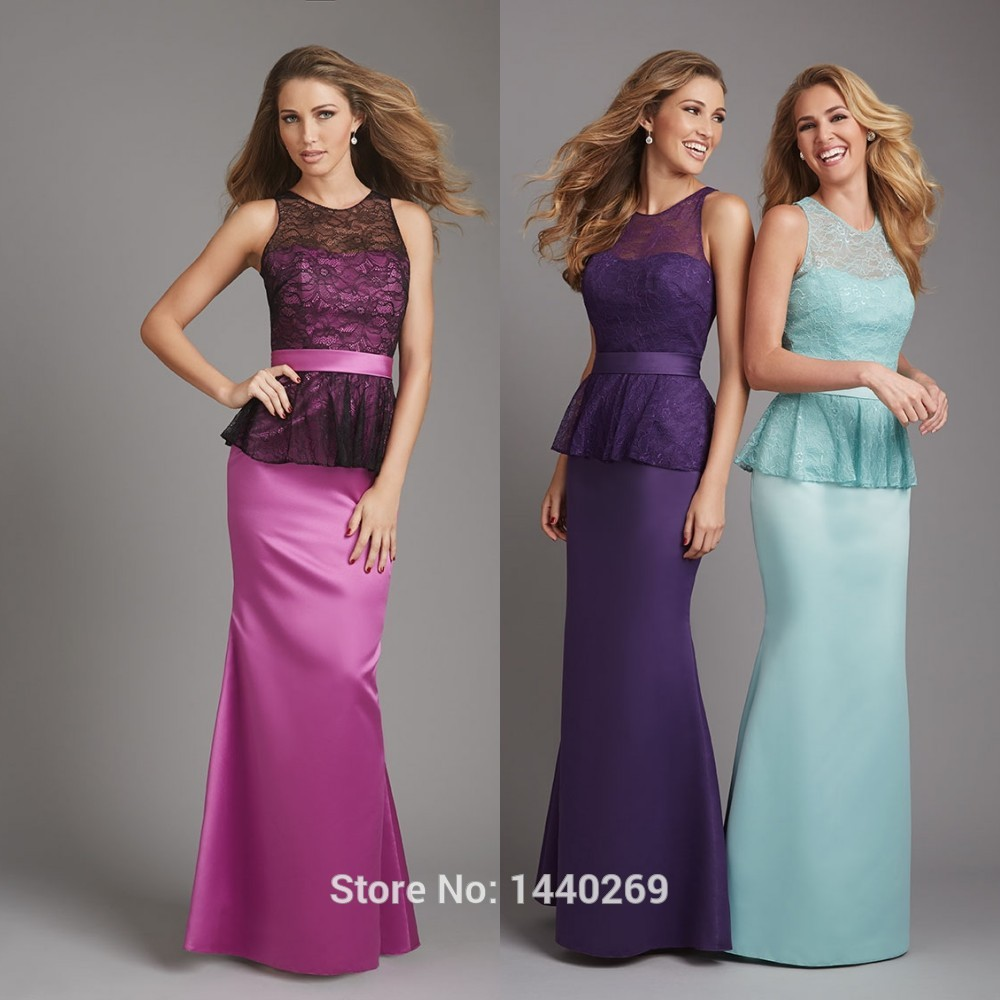 Online get cheap purple peplum bridesmaid dresses aliexpress exquisite crew neck sleeveless peplum lace satin purple mermaid bridesmaid dresses 2016 ombrellifo Gallery