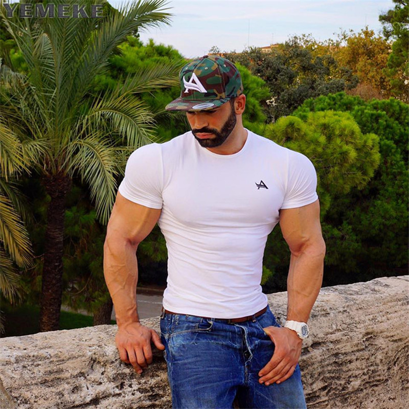 Mens summer   t     shirt   workout Fitness Bodybuilding   Shirts   Slim fit Fashion Casual Male Short Sleeve Brand cotton Tees Tops clothes