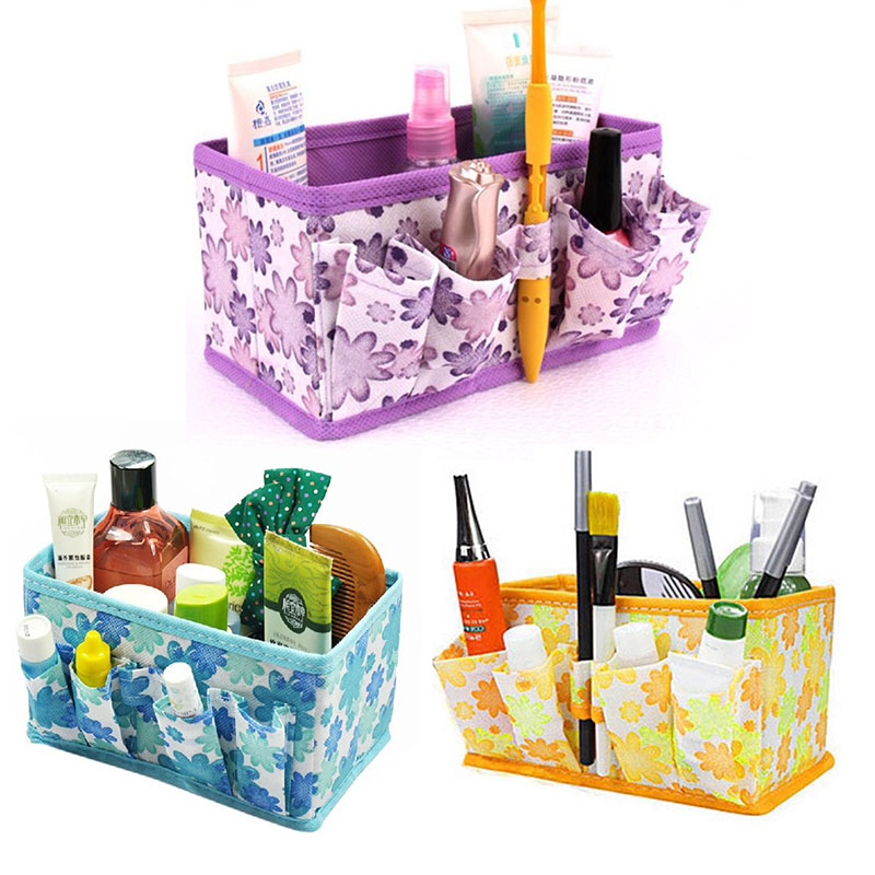 Cosmetic Case Printing Bags Collapsible Desk Storage Box Multi-functional Home Accessories Jewel Storage Bag Finishing Boxes