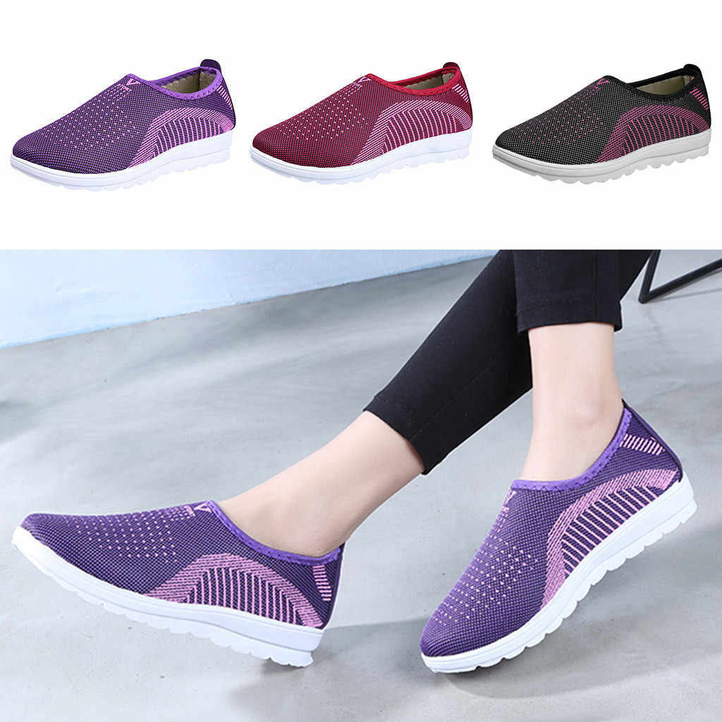 Las mujeres de malla zapatos planos zapatos patchwork slip-on de algodón Casual zapatos para mujer a rayas zapatillas de deporte mocasines zapatos zapato
