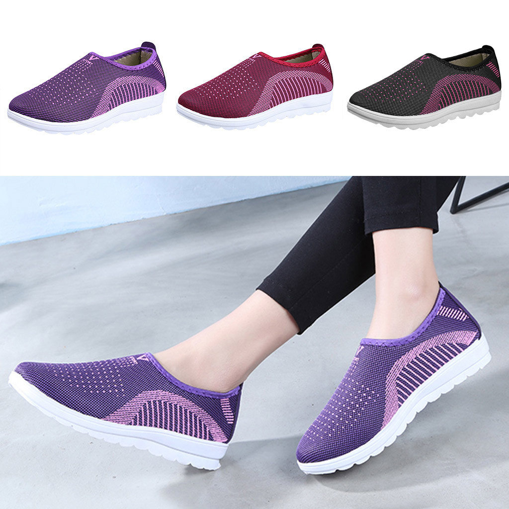 Vulcanized Shoes Autumn Mesh Flat With Loafers Plus Size Cotton Women Flats Casual Walking Stripe Sneakers For Female
