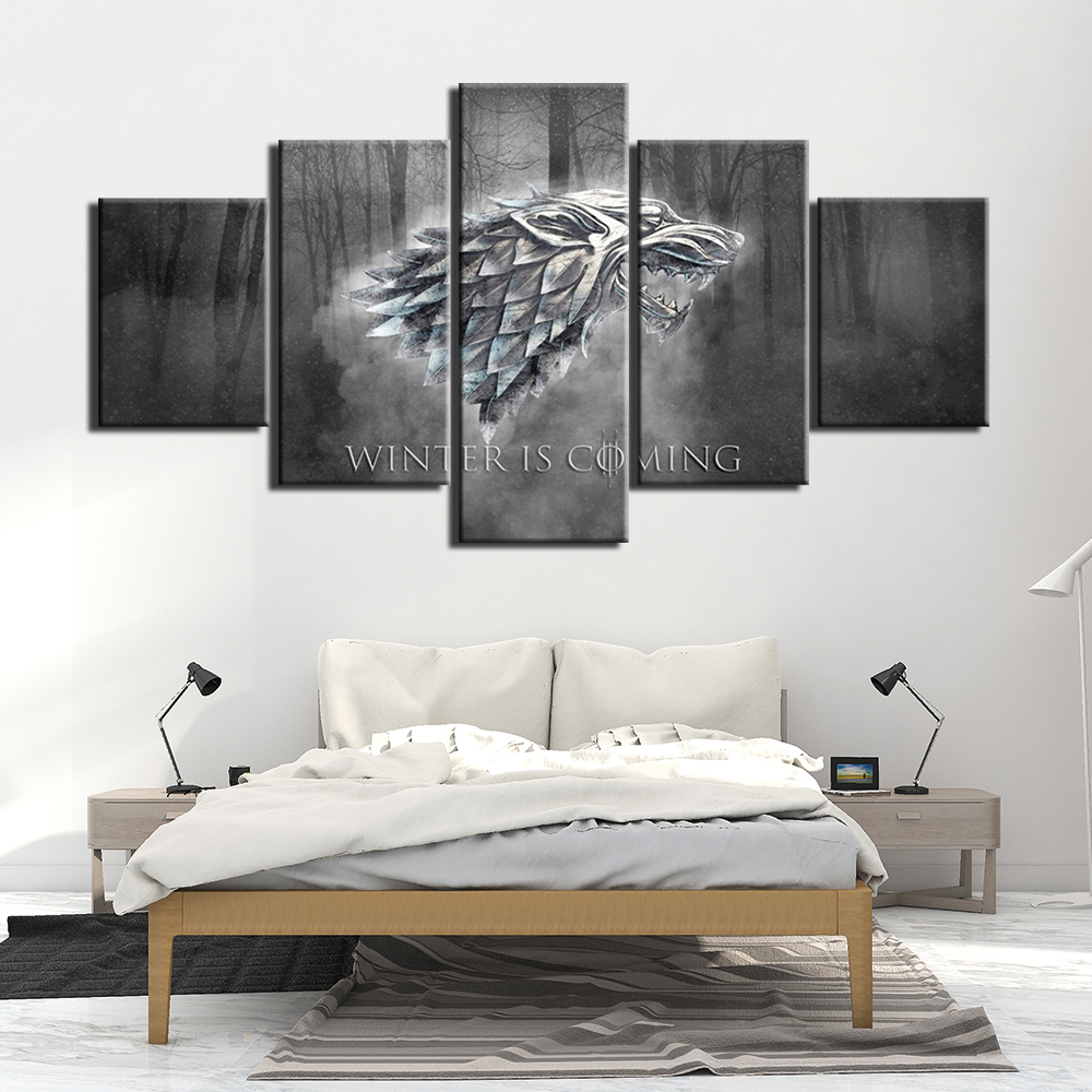 5 Panel HD print Painting A Song of Ice and Fire Game of Thrones Canvas Wall Art 5 piece TV poster Picture Home Decoration Print image