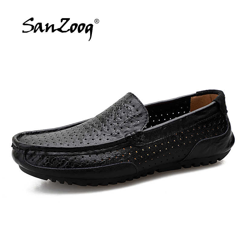 Summer Breathable Casual Men Shoes Loafers Slip-On Hole Men Leather Shoes Driving Shoes Mens Boat Shoes Moccasins 4 Colors