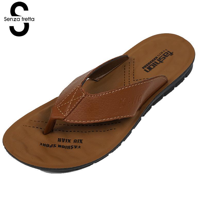 Senza Fretta Summer Men Shoes Flip Flops Slippers Pu Leather Shoes Flip Flops Beach Slippers Flip Flops With Soft Sole Shoes сланцы popular summer flip flops