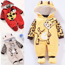 cow 2016 Baby Rompers Cute Soft Newborn Baby Boy Cothes Long Sleeve Winter Rompers NewBorn Baby Girl Clothes Warm Baby Costumes(China)