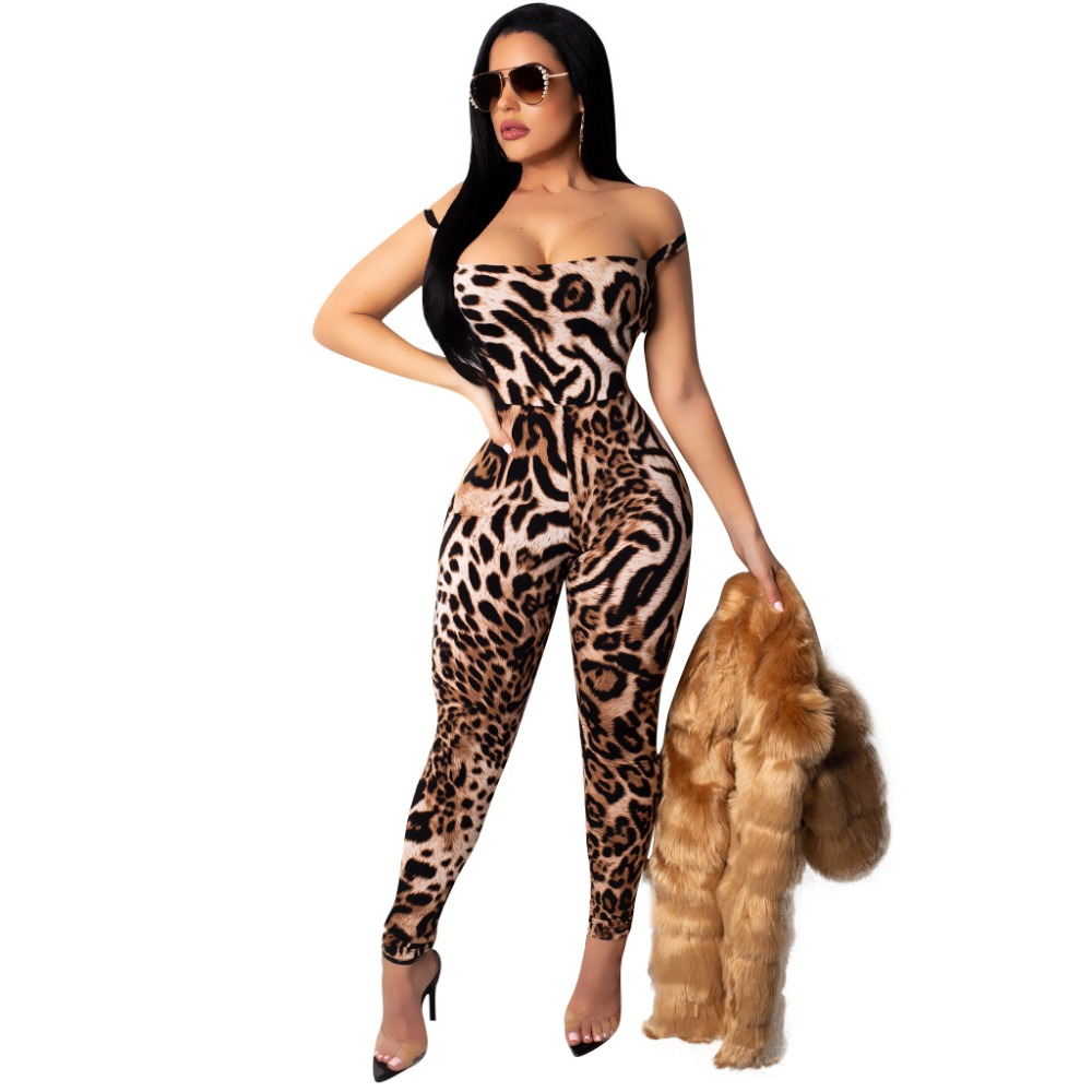 New Sexy Women Leopard   Jumpsuits   Rompers Slim Bandage   Jumpsuit   Hollow Out Elastic Tracksuit Overalls rompers womens   jumpsuit