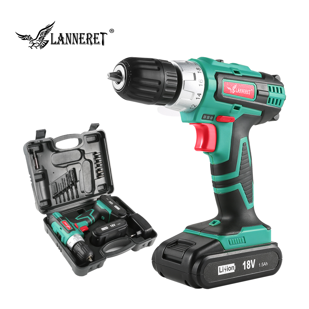 LANNERET 18V DC Lithium ion Battery 3 8 inch 2 Speed Electric Cordless Drill Mini Screwdriver