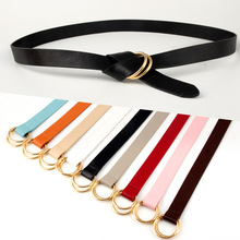 New Women Belt For Dress Fashion Beautiful Double Loop Buckle Waistband Gold Metal Round  Jeans Pants